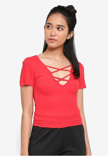 Factorie red Cross My Heart Rib Short Sleeve F7A7DAAD93692AGS_1