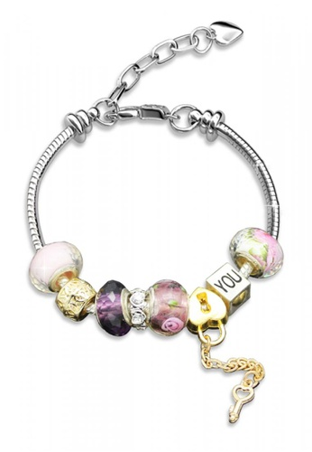 Her Jewellery silver Her Jewellery Colorful Charm Bracelet (Pink) HE581AC0RCCMMY_1