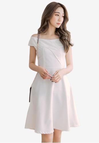 Eyescream white Cross Lapel Off Shoulder Dress 037D3AA1A2C580GS_1