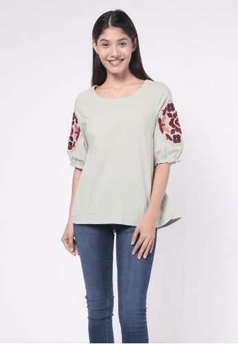 nicole green Round Neck Puff Sleeves With Embroidery Blouse D32A2AAABBA128GS_1