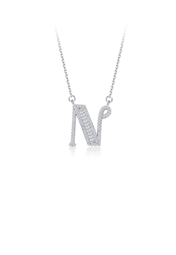 Glamorousky white 925 Sterling Silver Fashion Personality English Alphabet N Cubic Zircon Necklace 6C3A4ACAB7C6E6GS_1