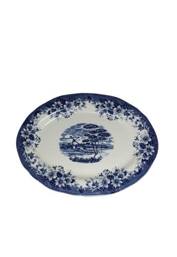 Claytan 185B Windmill Blue-Oval Platter F292FHL7C76B1CGS_1