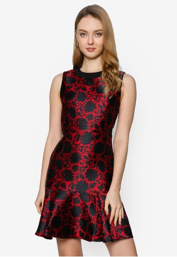 Saturday Club red Abstract Printed Dress With Cut-Out Back DC164AA3F1C8A9GS_1