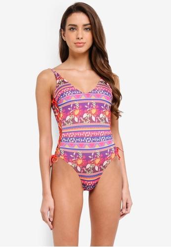 Piha multi Batik Floral Side Lacing Suit 1FE1FUSE05B7CDGS_1