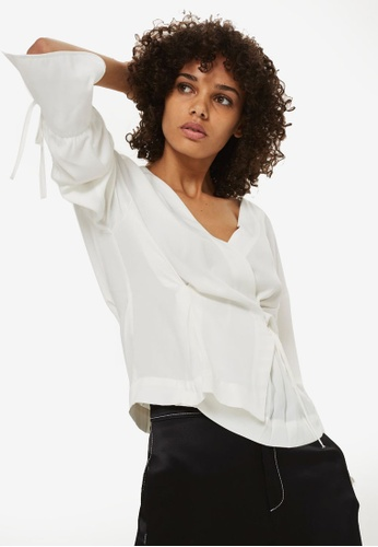TOPSHOP white Tie Sleeve Wrap Blouse 56AB8AA66CD718GS_1