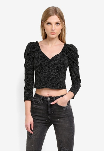 Miss Selfridge black Polka Dot Long Sleeve Sweetheart Top MI665AA0S6FOMY_1