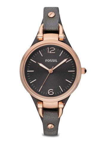 Fossil grey Gray/Gray Georgia Three Hand Leather Watch ES3077 FO164AC70ZQBMY_1
