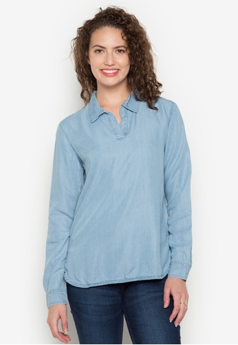 Bobson blue Long Sleeves Chambray Shirt With Side Slits BO748AA0K5GWPH_1