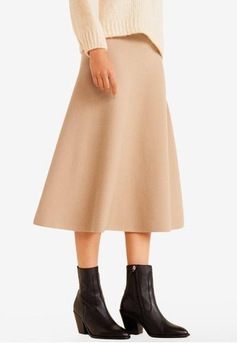Mango brown Flared Long Skirt E3858AAFFC01D9GS_1