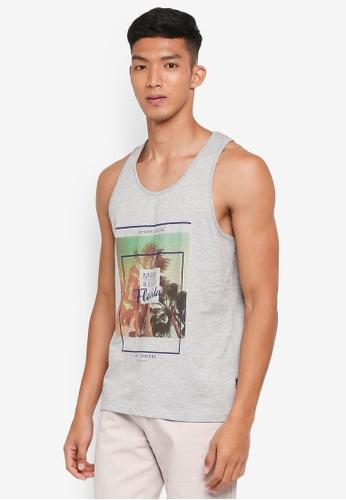 Burton Menswear London grey Grey Miami Print Vest F077CAAC27FCD1GS_1