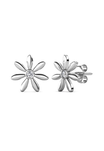 Her Jewellery silver Petra Earrings (White Gold) - Made with premium grade crystals from Austria 4C5E4ACF4FB3ACGS_1