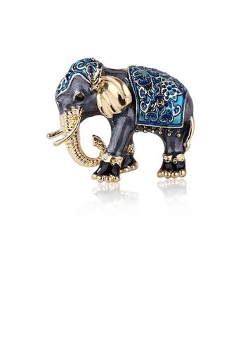 Glamorousky black Fashion Creative Exotic Blue Elephant Brooch with Cubic Zirconia 05CEAAC59B2234GS_1