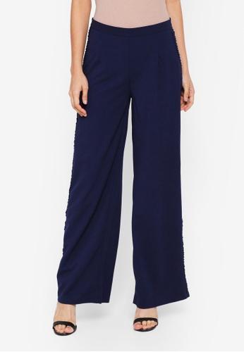 Lubna blue Side Ribbon Straight Cut Pants 5C4E9AAA6D8567GS_1