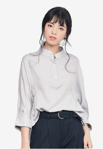 Kodz grey Crinkled Design Shirt 718D9AA9FB7D98GS_1
