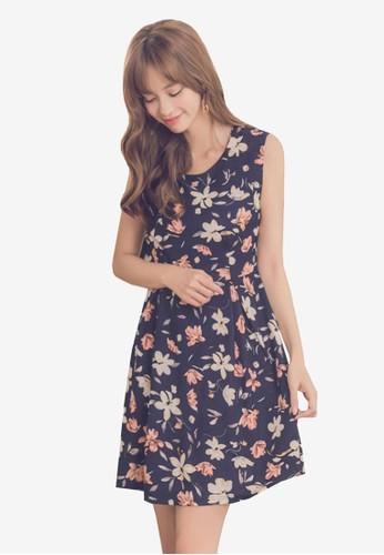 Yoco navy Floral U-Neck Dress 03557AA6DE4BDAGS_1