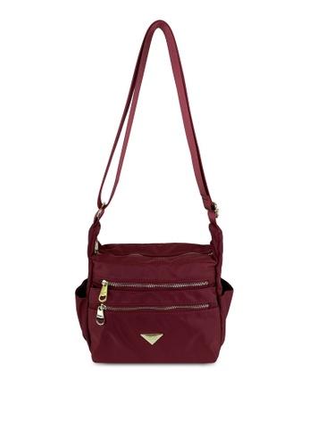 Mel&Co red Nylon Sling Bag B1A93AC385C52AGS_1