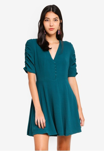 Glamorous green Button Up Skater Dress A7F1FAA9A25FD5GS_1