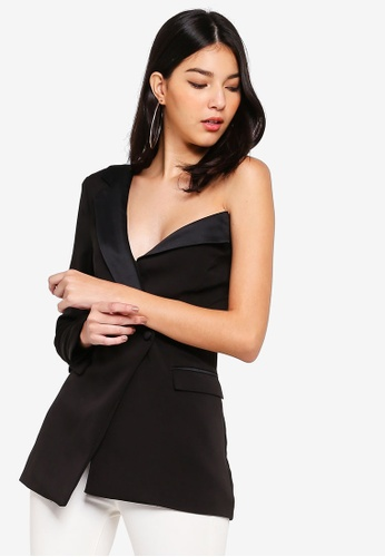 Lavish Alice black One Shoulder Fitted Tuxedo Jacket With Satin Lapel 04A20AACBBDE83GS_1