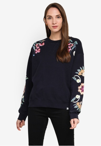 Desigual navy Floral Print Sweatshirt C246FAA79074E3GS_1