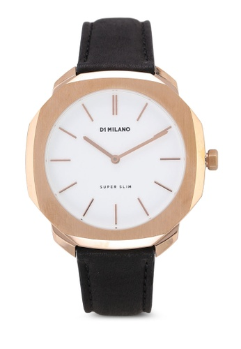 D1 Milano black and white and gold Super Slim Rose Gold Case Black Leather Strap F12FAAC567C8ABGS_1