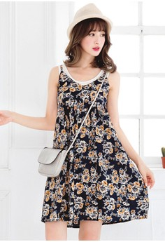 [IMPORTED] Sunny Florals Babydoll Dress - Navy