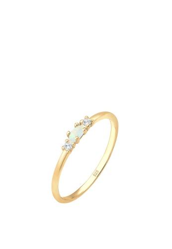 ELLI GERMANY gold Elli Germany Ring Vintage Geo Opal Zirconia 925 Sterling Silver Gold-Plated BA6F9AC9BC219EGS_1
