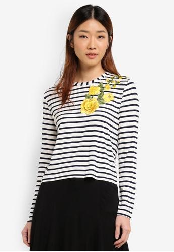 Miss Selfridge white Stripe Applique Top E9FB5AAB671405GS_1