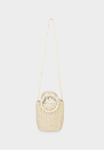 Pomelo beige Rattan Round Top Handle Crossbody Bag - Beige 22356ACB6ECC02GS_1