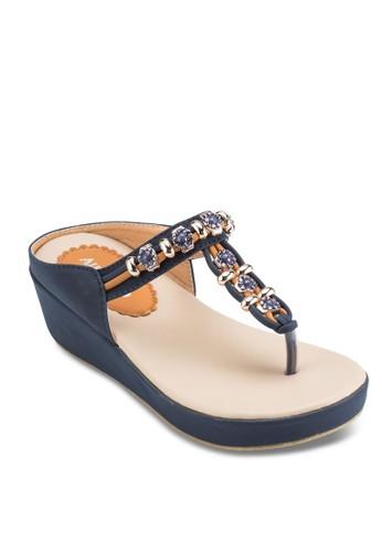 點綴 T條厚底涼esprit香港門市鞋, 女鞋, 楔形涼鞋