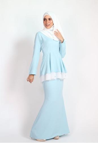 CLARA PEPLUM KURUNG from Coudre Kuala Lumpur in Blue
