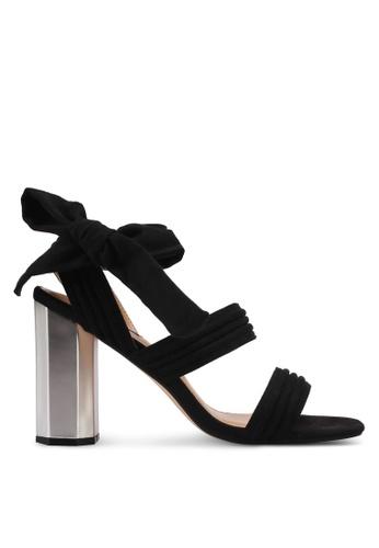 ZALORA 黑色 蝴蝶結緞帶粗跟涼鞋 8FD58SHDD191B0GS_1