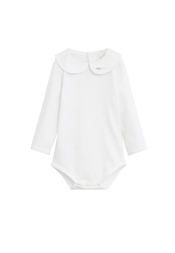 MANGO BABY white Embroidered Detail Organic Cotton One Piece 24255KA8CFB1A2GS_1