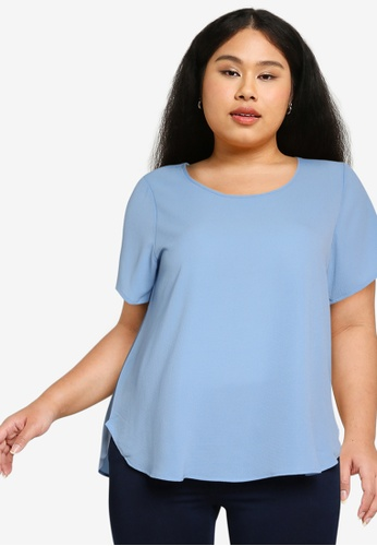 Only CARMAKOMA blue Plus Size Luxmila Short Sleeves Top 6143CAA70FFD8BGS_1