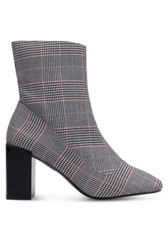 RIVER ISLAND  Checkered Print Block Heel Boots