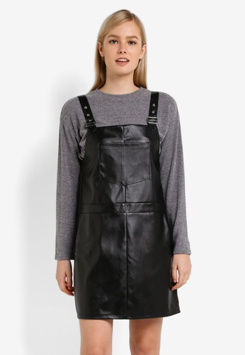 Something Borrowed black and grey 2 in 1 Strap Detail Pinafore Dress 0F8D9AA34F322FGS_1