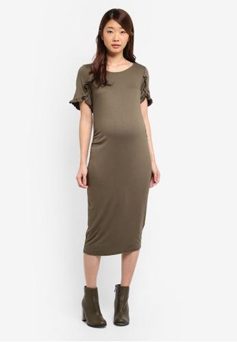 Dorothy Perkins green Maternity Ruffle Sleeve Bodycon Dress 9CE75AA879C613GS_1