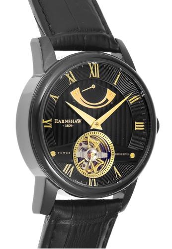 Thomas Earnshaw black Thomas Earnshaw Men's Genuine Leather Strap Watch - ES-8081-05 1A6A6ACF7E56E4GS_1