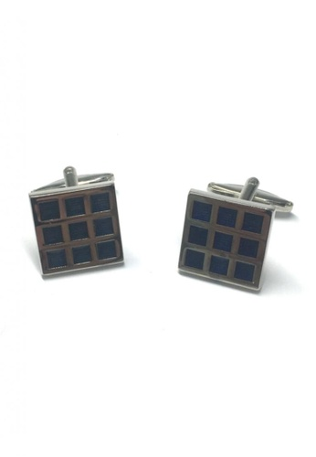 Splice Cufflinks blue Blue Checked Square Cufflinks SP744AC98FTTSG_1