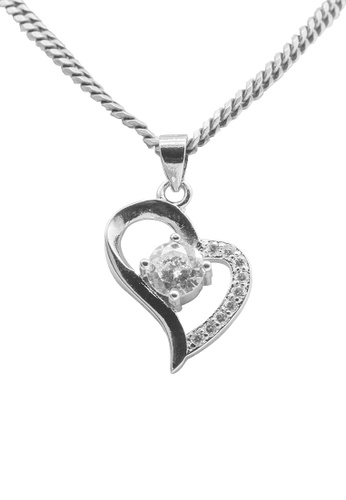 Elfi white Elfi 925 Sterling Silver With 18K White Gold Plating Silver Love Heart Crystal Stone Pendant SP31 (White) E030AACD26687BGS_1