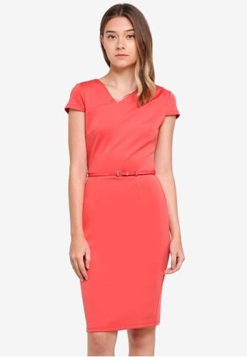 Dorothy Perkins pink Coral Asymmetric Scuba Pencil Dress 6B76DAA219527CGS_1