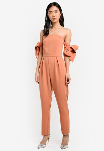 True Decadence orange Tie Sleeve Jumpsuit TR715AA0S2YYMY_1