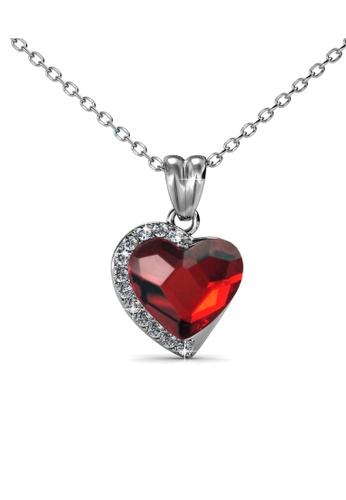 Her Jewellery silver Fond Love Pendant (Ruby Red) - Made with premium grade crystals from Austria HE210AC0GFI2SG_1