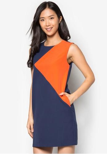 色zalora 包包 ptt塊直筒連身裙, 服飾, 正式洋裝