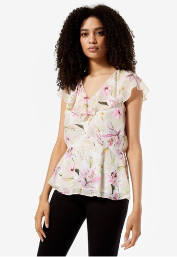 Dorothy Perkins white Billie & Blossom Ivory Lily Print Ruffle Top 3240DAAED59971GS_1