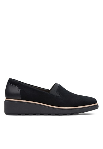 Clarks CLARKS Sharon Dolly Black Suede                    Womens Casual Shoes F38E8SHACDE2A8GS_1