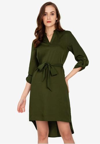 ZALORA WORK green Notch Neck Rolled Up Sleeves Dress A02BAAAC9E62C9GS_1