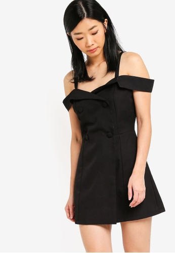Something Borrowed black Cold Shoulder Buttoned Playsuit 5E31BAA1743D07GS_1