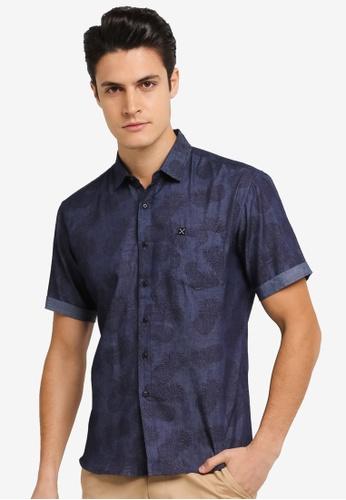 JAXON navy Pineapple Motif Short Sleeves Shirt 24349AA4173AFEGS_1