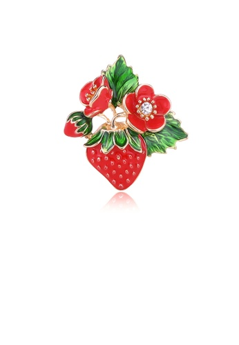 Glamorousky white Fashion Sweet Plated Gold Strawberry Flower Brooch with Cubic Zirconia 6300CAC933DD7CGS_1