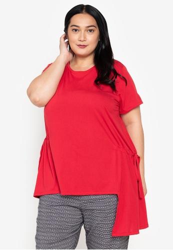 Maxine red Plus Size Asymmetrical Blouse 696D6AAC593E75GS_1